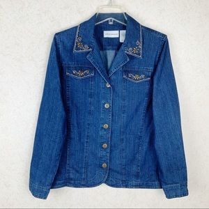 Alfred Dunner floral beaded jean jacket